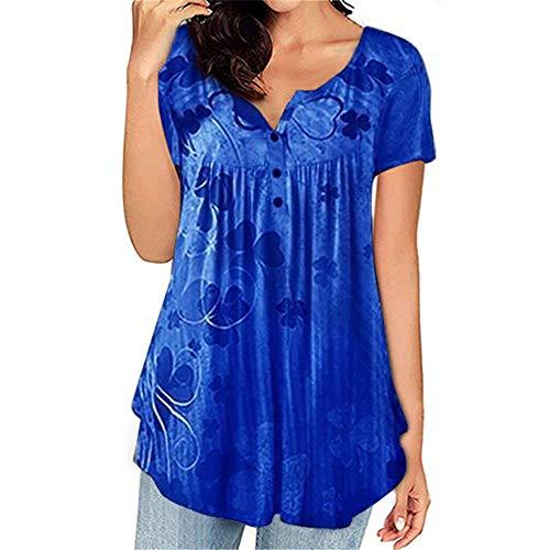x8jdieu3 Summer Casual Cuello Redondo Pullover Estampado Y TeñIdo Suelto Tallas Grandes Camiseta De Manga Corta para Mujer Tops De Mujer