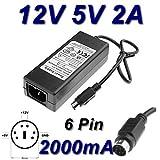 TOP CHARGEUR  Adattatore Caricatore Caricabatteria Alimentatore 12V 5V 2A 6 PIN per Hard Disk Zaapa JHS-Q05/12-S334