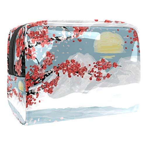 Japanese Watercolor Sakura Snow Mountain Sunset 7.3''x3''x5.1'' 18.5x7.5x13cm/7.3x3x5.1in(L xW xH) Travel Makeup Case Pouch for Women Girls