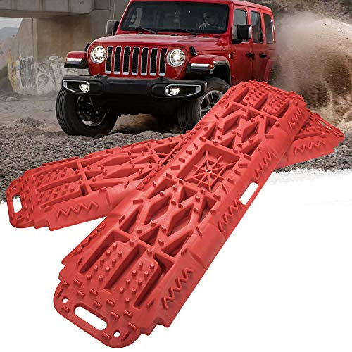 BUNKER INDUST Off-Road Traction Boards with Jack Lift Base, 2 Pcs Recovery Tracks Traction Mat for 4X4 Jeep Mud, Sand, Snow Traction Ladder-Red Tire Traction Tool