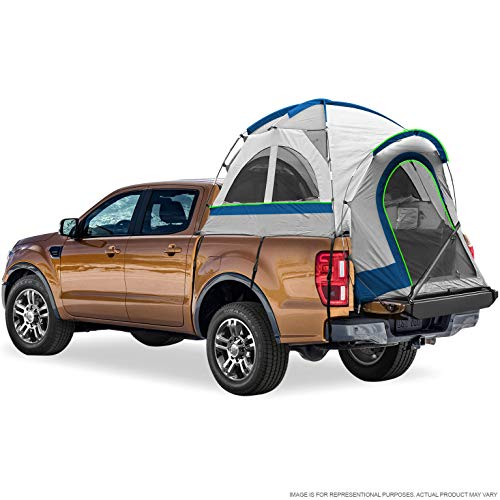 "North East Harbor Pickup Truck Bed Camping Tent, 2-Person Sleeping Capacity, Includes Rainfly and Storage Bag - Fits Full Size Truck with Short Bed - 66""-70""(5.5'-5.8') - Gray and Blue"