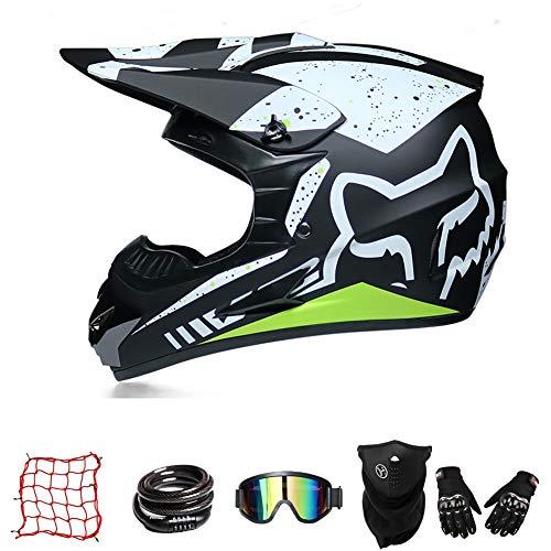 Casco De Moto De Cross-Country ZYLH, Casco De Cross con Gafas, Casco para Jóvenes, Casco De Cross para Niños, Casco De Descenso para Niños, Protección Facial Combinada (XL(59-60cm))