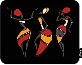 oFloral African Dancers Gaming Mouse Pad Tribal Ethnic Clothing Girls Dancing Black Background Decorative Mousepad Rubber Base Home Decor for Computers Laptop Office Home 7.9X9.5 Inch