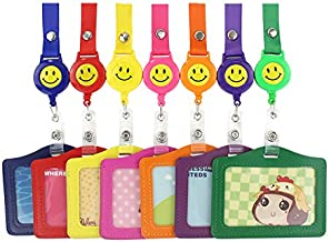 JINL 7 Pcs Horizontal Style Assorted Color Faux Leather Business Id Credit Card Badge Holder Clear Pouch Case +7 Pcs Retractable Smile Face Badge Reels with Nylon String