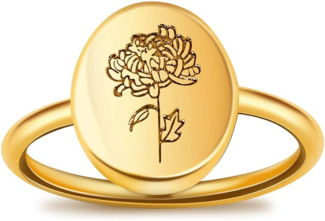 LUIWIN Louisville-Jefferson County Mall Birth Flower Signet Ring 18K Stacking Gold Fl Oval Weekly update Plated