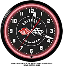 """product image for Corvette 1953 To 1955 Red Black Vette Emblem Neon Wall Clock 20"""" Made In USA - Spun Aluminum Case with Powder Coated Finish"""