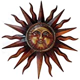 Vintage Copper Patina Sun Face Large Wall Hanging Metal Art Decor 38 inches Yard Sculpture Outdoor Living Product Name