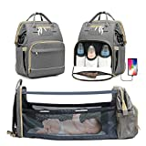 KOVEBBLE Diaper Bag Backpack with Changing Station, Foldable Baby Diaper Bag for Baby, Boy, GILR, Mom, Dad, Mommy Bag with USB Charging Port, Portable Travel Baby Bassinet Crib (Light Grey)