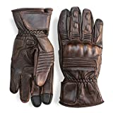 Premium Leather Motorcycle Gloves (Brown) Cool, Comfortable Riding Protection, Full Gauntlet with Mobile Touchscreen Fingers (Medium)