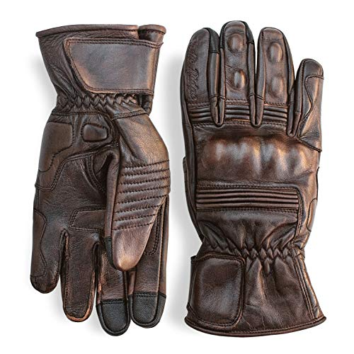 Premium Leather Motorcycle Gloves (Brown) Full Gauntlet with Mobile Phone Touchscreen by Indie Ridge (X-Large)