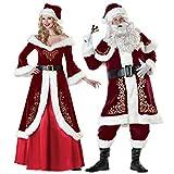 QLING Disfraz de Navidad, Traje de Papá Noel, Traje de Lujo, de Felpa para Adultos, Disfraz de Papá Noel de Manga Larga, Disfraz de Pareja para Fiesta de Navidad, Show, Men m