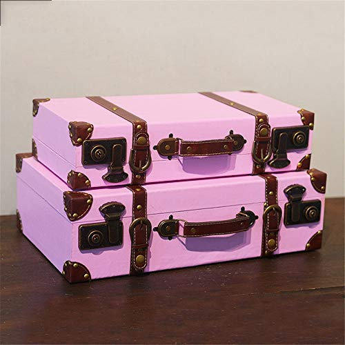 Dfghbn Decorative Treasure Box Portable Wooden Suitcase Luggage Clothing Store Photography Props Decoration Ornaments (Color : Pink, Size : 2pcs)