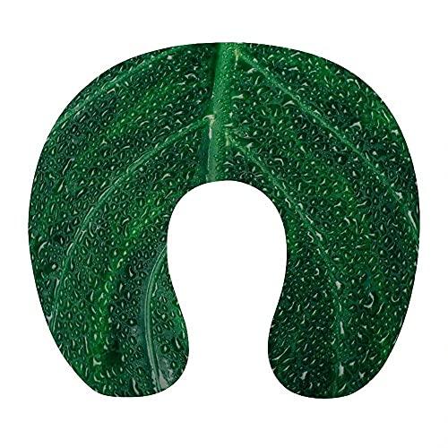 Almohada de Viaje, en Forma de U Almohadilla Cervical, Viscoelástica Cojin Cervical, con Funda Extraíble, para el Aeroplano, el Oficina, el Hogar (Verde )