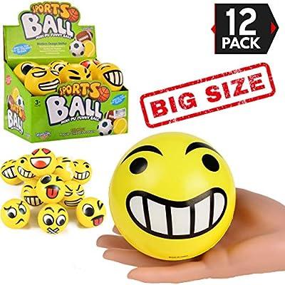 "Liberty Imports 4"" Set of 12 Jumbo Emoji Face Yellow Foam Soft Stress Novelty Big Toy Balls (4 Inches)"