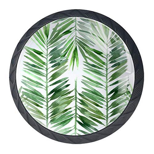 Tiradores de puerta de armario con textura de hojas frescas verdes para armarios, cajones, 4 unidades
