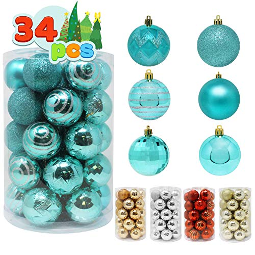 Joiedomi 34 Pcs Christmas Ball Ornaments, Shatterproof Christmas Ornaments for Holidays, Party Decoration, Tree Ornaments, and Special Events (Teal, 2.36')