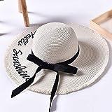 Sombrero De Playa para Sombreros De Sol con Letras Tejidas A Mano para Mujer, Cinta Negra con Cordones, Sombrero De Paja De ala Grande, Gorras De Verano para Playa Al Aire Lib