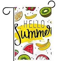 ウェルカムガーデンフラッグ(28x40inch)両面垂直ヤード屋外装飾,こんにちは夏のフルーツスイカオレンジバナナの引用