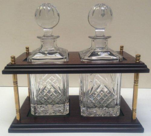 Trafalgar Twin Crystal Karaffe, Mit Ständer, Handgeschliffen, 24 %Bleikristall, Karaffen, Messing Massiv, Beschläge