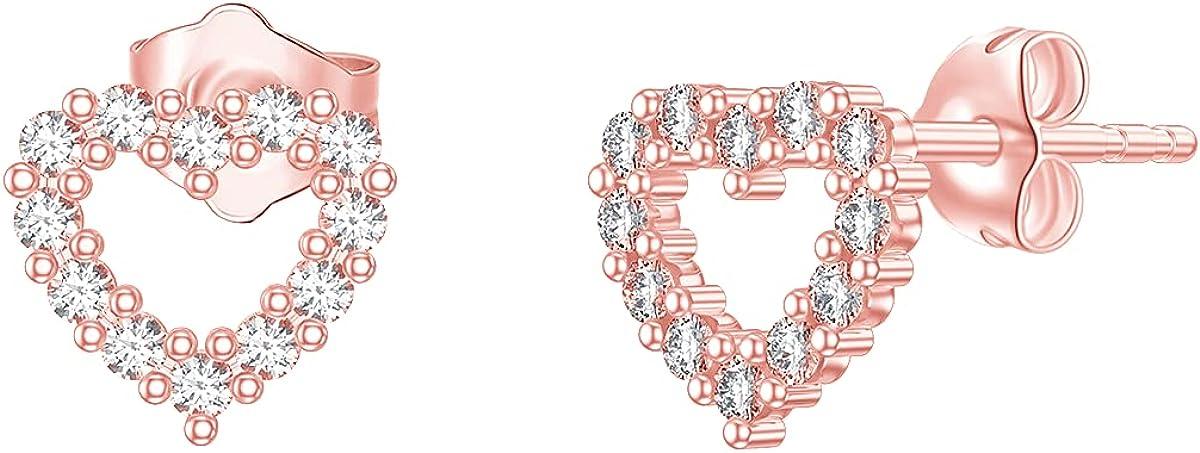 SISGEM 14K Real Gold Heart Stud Earrings for Women,5A Cubic Zirconia Love Heart Studs Fine Jewelry for Mom Girls Wife Best Birthday Gift 7.5 mm