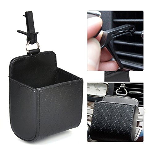 beler Schwarz Universal PU Leder Auto Air Vent Outlet Speicher Handy Halterung Tasche Organisator Beutel Trash Case Halter