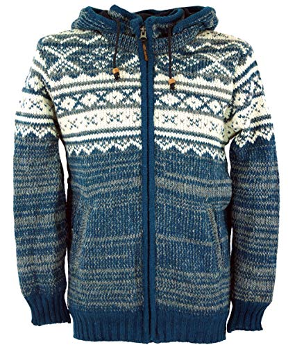 Guru-Shop Strickjacke mit Norwegermuster, Wolljacke, Nepaljacke, Herren, Blau, Wolle, Size:S, Jacken, Strickjacken, Ponchos Alternative Bekleidung