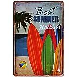【USA アメリカン デザイン】Best Summer Holiday サーフ ガレージ サインボード ビンテージ バイカー インテリア 看板 AVSB-023