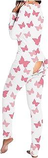 SJLAQ Pijama De Una Pieza para Ropa De para Mujeres Adultos Pijama De Mono Cuello En V para Chica Adolescente Invierno Ropa De Dor (Mariposa Rosa, M)