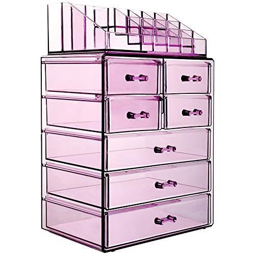 InnSweet - Organizador de acrílico de 4 piezas para maquillaje y cosméticos, caja grande con exhibición de joyas con 10 cajones –...