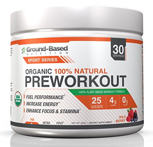 Ground-Based Nutrition Organic Natural Pre Workout – Zero Carb Plant Based Energy Formula, Non-GMO, Raw, Gluten-Free, Clean Energy, Strength, Endurance, and Focus - Vegan, Sugar Free, 30 Servings