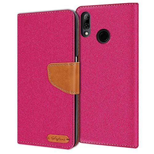 Conie Huawei P20 Lite Hülle für P20 Lite Tasche, Textil Denim Jeans Look Booklet Cover Handytasche Klapphülle Etui mit Kartenfächer, Pink