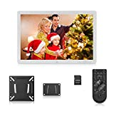 17 Inch Digital Picture Frame 1920*1080 High Resolution Digital Photo Album 1080P Advertising Machine Electronic Clock Calendar MP3 MP4 Functions with Remote Control + Wall Hanging + 8GB Memory Card