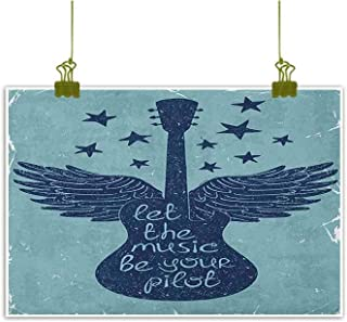 Xlcsomf High Definition Printing Oil Painting Music Bar Decoration Let The Music Be Your Pilot Quote Winged Electronic Guitar and Stars Retro Print W35 x L24 Dark Blue