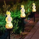 Sasaly Luz de jardín Loro solar Inserción de tierra Paisaje Luz Resina Artesanías Antorchas al aire libre Efecto de llama Decoración de jardín (AA, talla única)