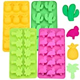 Eiswürfel Formen aus Silikon, Kaktus, Flamingo, Palme und Ananas für Kinder