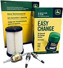 John Deere AUC13705 Original Equipment Home Lawn Tractor Oil Maintenance Kit with Easy Oil Change System, Oil Filter, Fuel Filter, and Spark Plugs