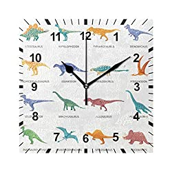 OREZI Wall Clock Dinosaur Colored Isolated Icons Silent Non Ticking Operated Round Easy to Read Wall Clocks for Kid's Bedroom Playroom Homeschool Classroom,9.5 Inches(24cm)