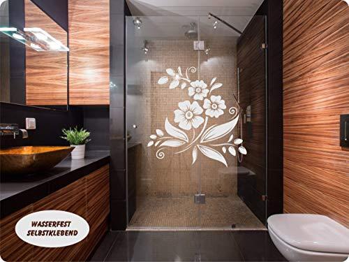 rs-interhandel® Aufkleber Folie Tattoo Glasdekorfolie Bad Dusche Duschwand Badezimmer Glasdekor GD42 Ornament Blume