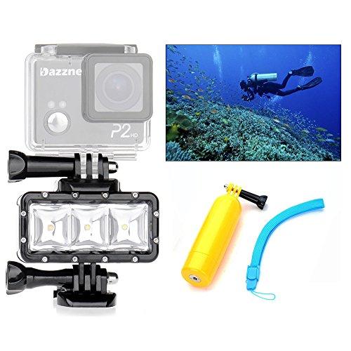 Orsda Video Tauchlampe 30M Wasserdicht 3W 3 LED Tauchlampe Videoleuchte+ Schwimmender Handgriff Griff 300LM für GoPro Hero 4 3+ 3 Sport Kamera Schwarz Auftriebsstange