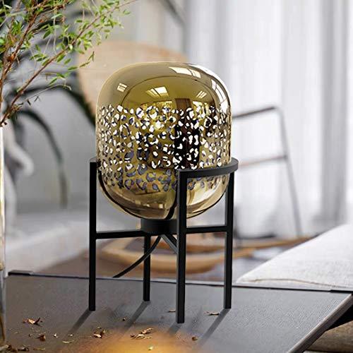 HOMMAX Lámpara de mesa moderna de cristal y acero, cristal niquelado dorado con estampado de leopardo, lámpara creativa de noche para salón, comedor, lámpara con interruptor, casquillo E27