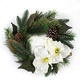 artplants.de Künstlicher Kranz mit Zapfen, Amaryllis & Beeren, Ø 35cm - Türkranz Weihnachten - Deko Tischkranz