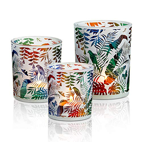 HOMMAX Set of 3 Votive Candle Holders, Glass Tea light Votives 3 Pack -Size 8/10/13 cm High, Handmade Engraved Colorful Jungle/Forest/Tropical Pattern, Stylish for Home Decor ,Gift,Everyday Use