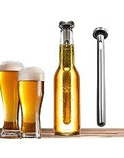 sunbre - Bidón de acero inoxidable para enfriar cerveza o bebida, barra de refrigeración instantánea portátil de acero inoxidable.