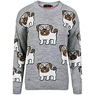 Customer reviews New Women Ladies Pug Knitted Printed Jumper Sweater Cardigan Dog Funny Top Pet Animal (M/L (12-14), Grey)