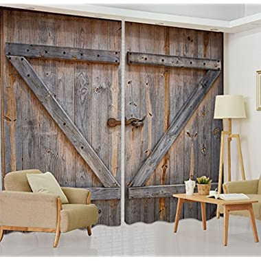 LB Rustic Barn Door Window Curtains for Living Room Bedroom,Vintage Wooden Farmhouse Door Decor Teen Kids Room Darkening Blackout Curtains Drapes 2 Panels,28 by 65 inch Length
