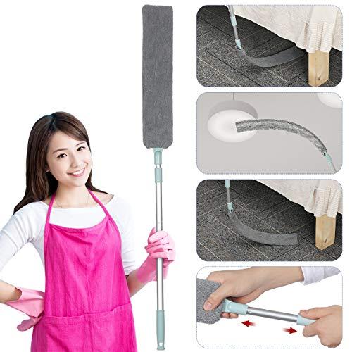 Cepillo limpiador de polvo de mango largo, 55'' cepillo telescópico para eliminar el polvo,Herramientas de limpieza del hogar debajo de la cama y el sofá.
