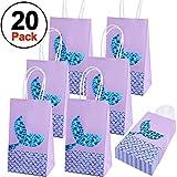 SIQUK 20 Packs Mermaid Party Bags Gift Bags Paper Bags Party Favor bags for Mermaid Themed Party