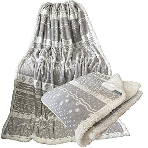 JEMIDI Kuschel Lammflor Imitat Kuscheldecke SCHWER!! Sherpa Wohndecke Sofadecke Felldecke Kuschel Couchdecke Woll Decke (150cmx 200cm, Hellgrau Norweger des 2)