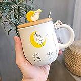 WZNB Conejo de Zanahoria Cubierta de Madera con Cuchara Taza de cerámica Taza de Agua Taza de café Taza 450ML Conejo de Pesca Lunar