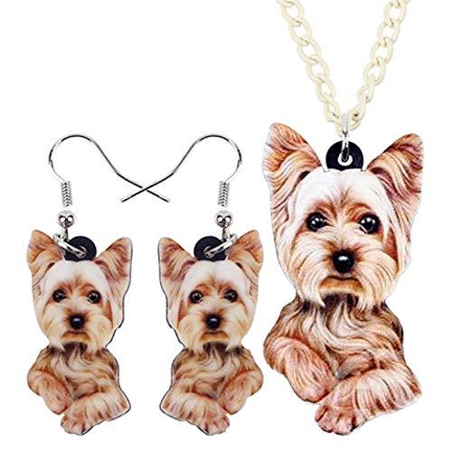 chushi Collar Lindo Pendientes del Collar De Perro De Joyería Animal De La Historieta Pet Set Regalo Zzib (Color : Brown)